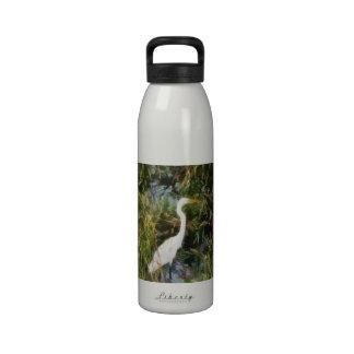 Egret blanco botellas de agua reutilizables