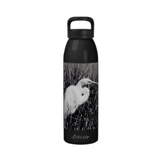 Egret blanco en el bw de las cañas botella de beber