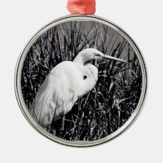Egret blanco en el bw de las cañas ornaments para arbol de navidad