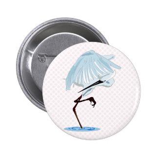 Egret de Eggy Pin Redondo De 2 Pulgadas