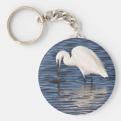 Egret de la pesca llavero redondo tipo pin