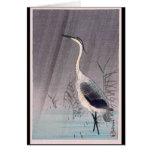Egret en lluvia de Seitei Watanabe 1851 - 1918 Tarjeta De Felicitación