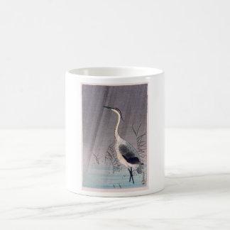 Egret en lluvia de Seitei Watanabe 1851 - 1918 Taza