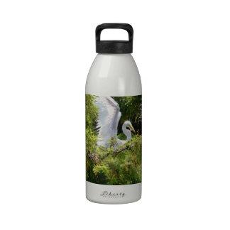 Egret en un árbol botella de beber