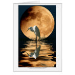 Egret & Golden Moon Wildlife Art Greeting-card