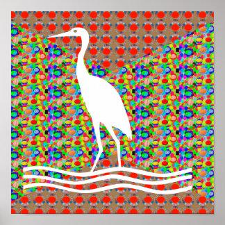 Egret gráfico de la garza de los pájaros de las póster