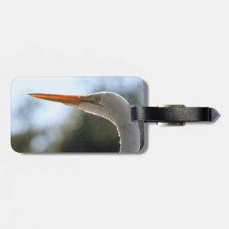 egret head close up neat original bird photograph travel bag tag