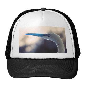 egret head colorized blue tint bird animal image trucker hats