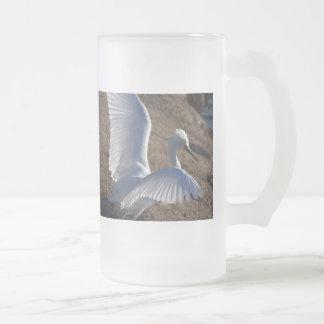 Egret Heron Bird Wildlife Animal Photography Frosted Glass Beer Mug
