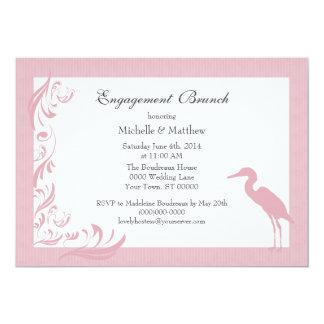 Egret / Heron Pink Engagement Brunch Card