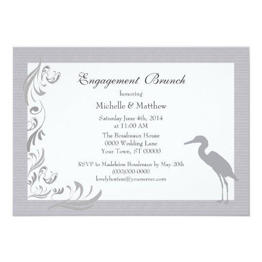 Egret / Heron Silver / Gray Engagement Brunch Card