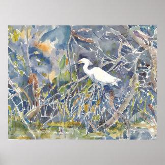 Egret. Impresión de la acuarela Póster