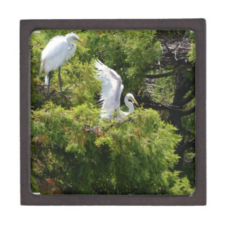 Egret in a Tree Premium Jewelry Boxes