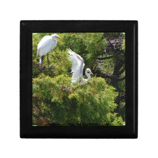 Egret in a Tree Trinket Box