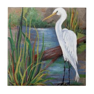 Egret in Bayou Ceramic Tile