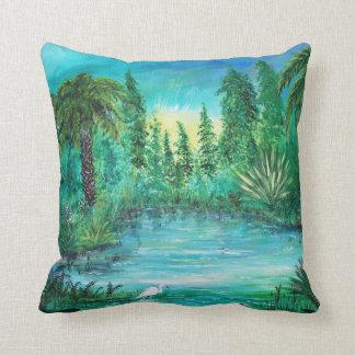 Egret in Cypress Swamp Throw Pillow