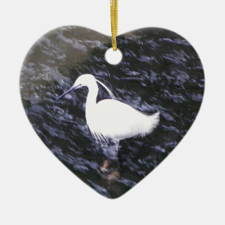 Egret in fast flowing river ceramic ornament