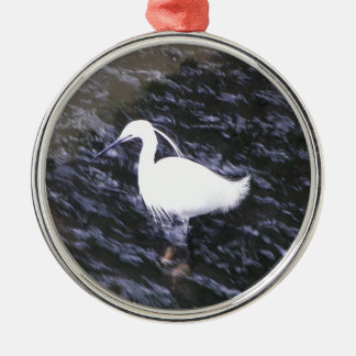 Egret in fast flowing river metal ornament