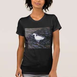 Egret in fast flowing river T-Shirt
