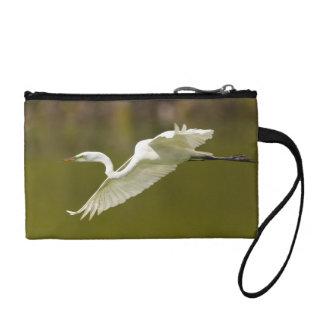 egret in flight change purse