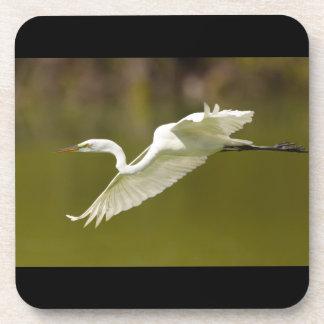 egret in flight drink coaster