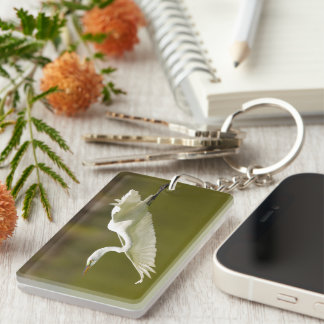 egret in flight acrylic keychain
