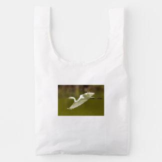 egret in flight reusable bag