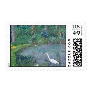 Egret in Pond Stamp