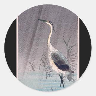 Egret in Rain by Seitei Watanabe 1851- 1918 Classic Round Sticker