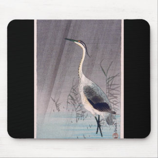 Egret in Rain by Seitei Watanabe 1851- 1918 Mouse Pad