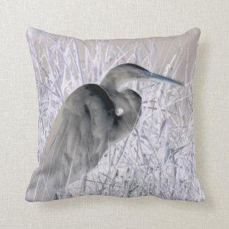 egret invert bw haunted throw pillow