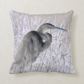 egret invert bw haunted throw pillow
