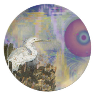 Egret Island Melamine Plate