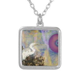 Egret Island Square Pendant Necklace