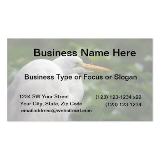Egret looking right against green c bird Double-Sided standard business cards (Pack of 100)