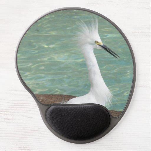 Egret nevado alfombrilla de raton con gel