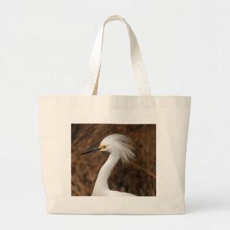 Egret nevado bolsa tela grande
