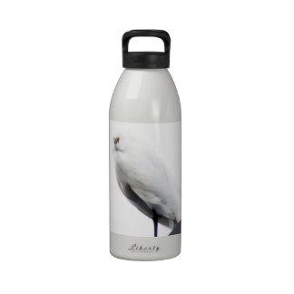 Egret nevado elegante y hermoso botella de beber