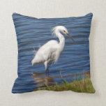 Egret nevado en la charca almohada