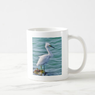Egret nevado taza de café
