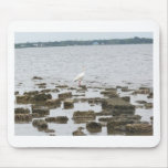 Egret on Shore Mousepad