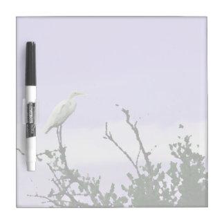 egret on tree painting purple Dry-Erase board