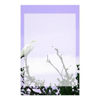 egret on tree painting purple stationery