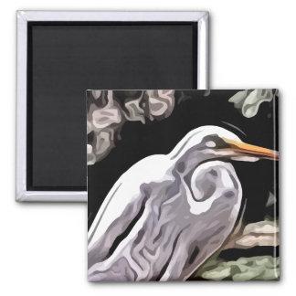 egret painting magnet