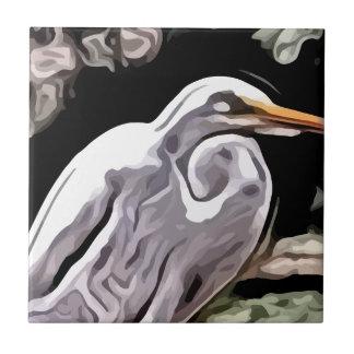egret painting tile