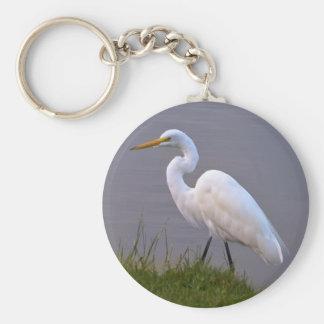 Egret que da un paseo en el llavero de la luz del