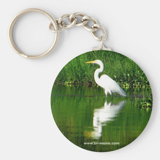 Egret, Rio Oscuro, Lago Izabal, Guatemala Keychains