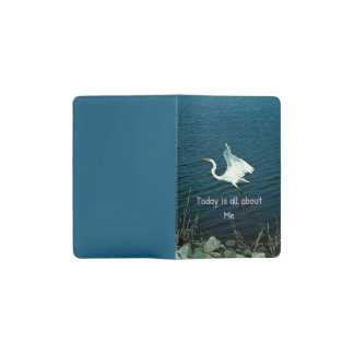 "Egret Soaring Over Water With ""Me"" Quote Pocket Moleskine Notebook"