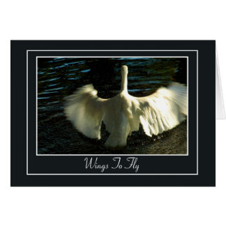 Egret Spreading Wings on Water Greeting Card