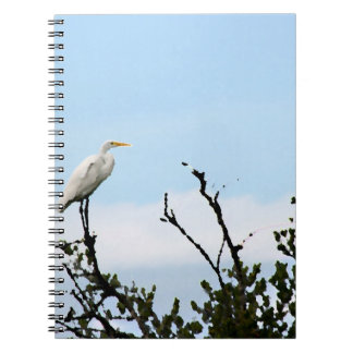 egret standing on tree painting spiral notebook